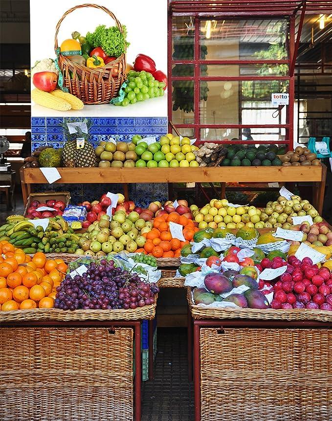 Vinilo decorativo pared 3D Fruteria | Cesta de Mimbre Frutas ...