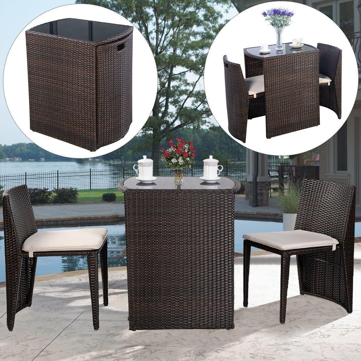 UBRTools 3 PCS Cushioned Outdoor Wicker Patio Set Garden Lawn Sofa Furniture Seat Brown