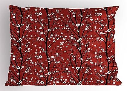 Floral almohada Sham por lunarable, árbol de flor de cerezo de ramas belleza japonés tradicional