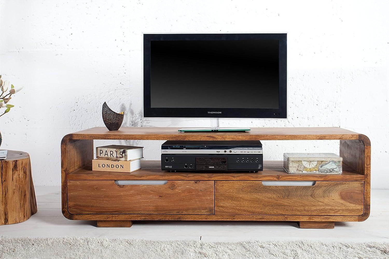Meuble Tv Design En Bois Massif Coloris Naturel Amazon Fr  # Les Tables Televiseur En Bois