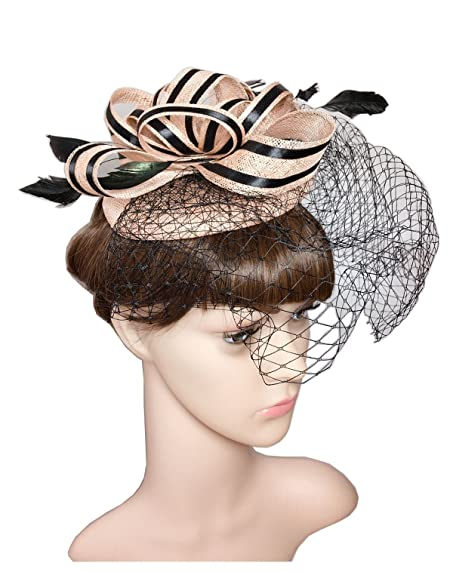 ysjoy luxury sinamay feather satin flower fascinators derby hat bridal shower hat wedding cocktail party church