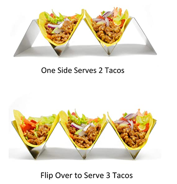 Taco soporte, hapway 4 unidades acero inoxidable Taco camión bandeja estilo, comida mexicana Taco accesorio de conchas, seguro para horno, lavavajillas y ...