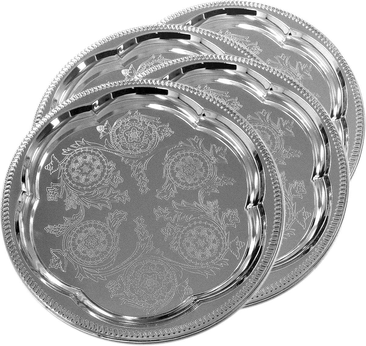 Maro Megastore (Pack of 4) 11.8-Inch Elegant Round Floral Pattern Engraved Catering Chrome Plated Serving Plate Mirror Tray Platter Tableware Decor Holiday Wedding Birthday Party (Small) T226s-4pk