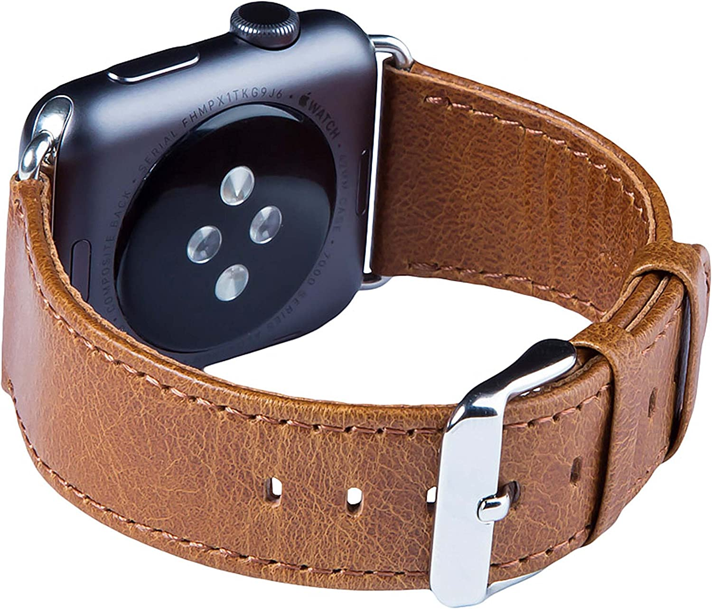 FUTLEX Banda para la muñeca de Cuero Heritage auténtico, Repuesto de Correa con Broche para Apple Watch 40mm 38mm - Marrón - Adaptadores Incluidos