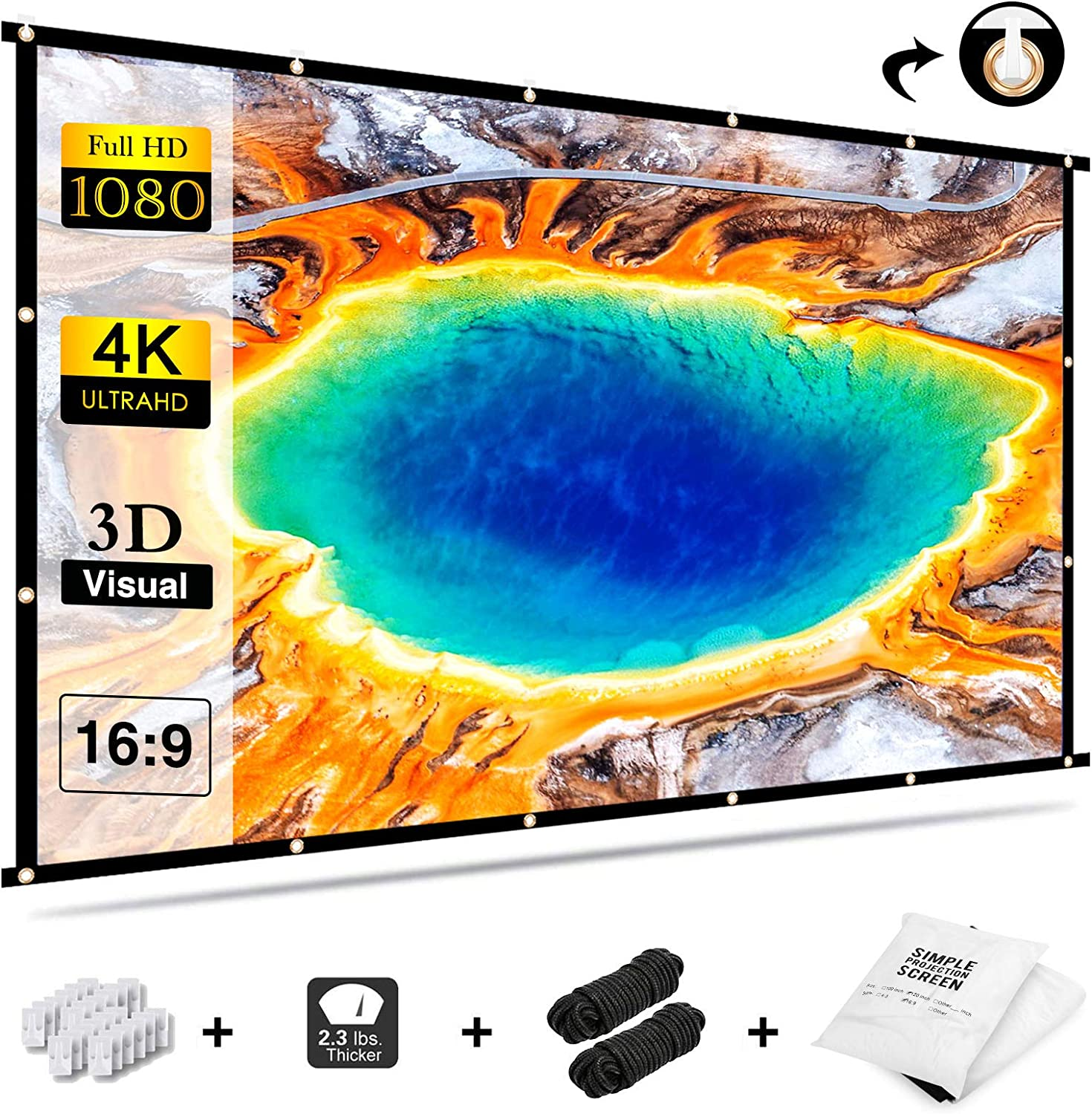 Projector Screen 120 inch, Outdoor Movie Screen 16:9 HD 4K Foldable Anti-Crease Portable Video Projection Screen Double Sided for Home Theater Indoor Meeting Backyard and Public Display