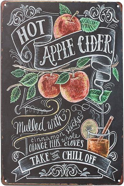 Kitchen decor Green Apple Vintage Fruit Illustration Retro Style Metal Sign