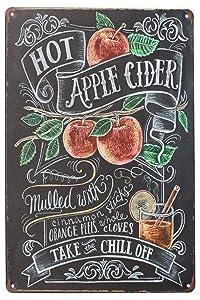 SUMIK Hot Apple Cider, Metal Tin Sign, Vintage Art Poster Plaque Kitchen Bar Home Wall Decor
