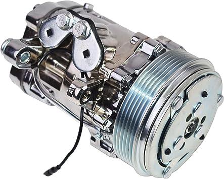 Chrome with Silver Clutch A//C Compressor Sanden SD-7 R134 Serpentine Belt
