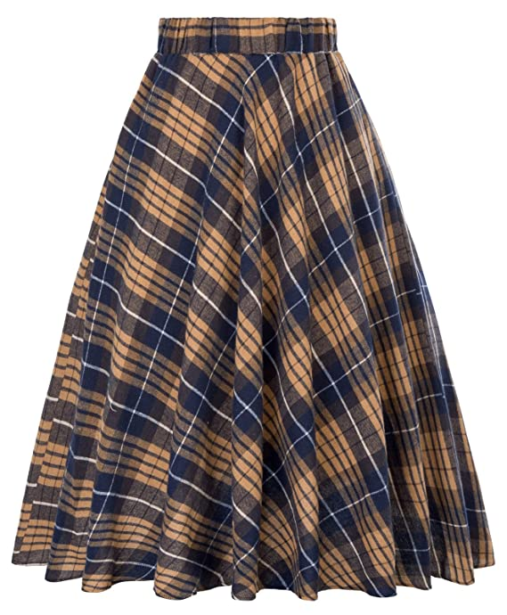 Retro Skirts: Vintage, Pencil, Circle, & Plus Sizes Kate Kasin Womens A-Line Vintage Skirt Grid Pattern Plaid KK633/KK495 $22.99 AT vintagedancer.com