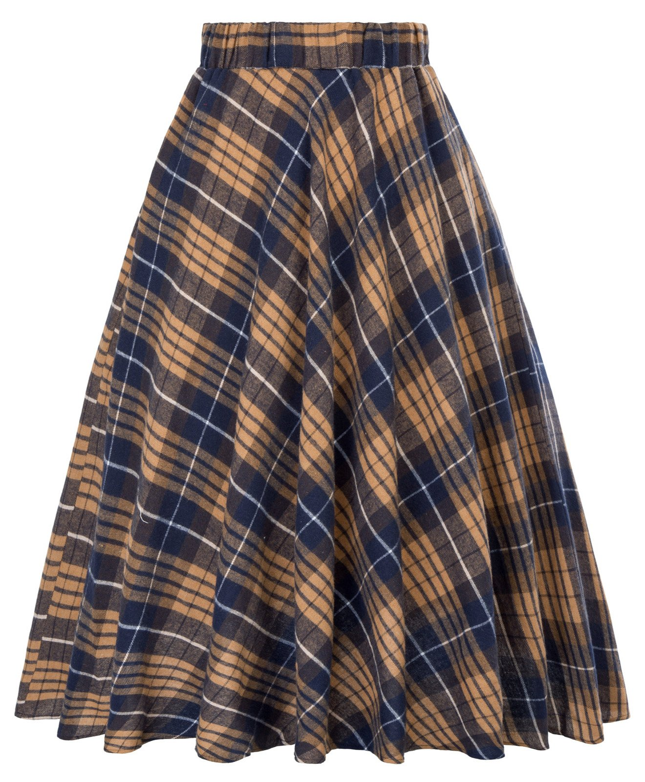 Flared Pleated Plaid A-Line Midi Skirt For Winter Size XL KK495-4