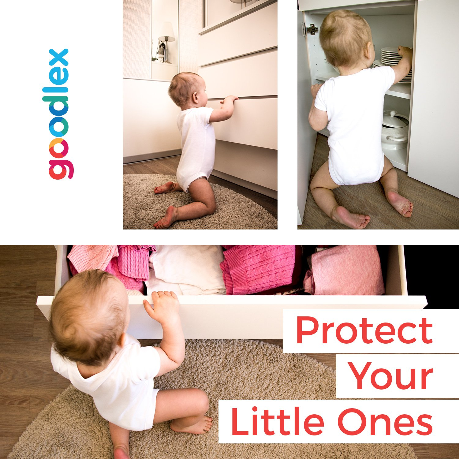 Self-Adhesive 3M Tape Easy Installation 1 Key Pack Drawers /& Cabinets Goodlex Premium Child Magnetic Lock Set Child Safety Locks For Cupboards Requires No Tools /& Drilling 4 Locks