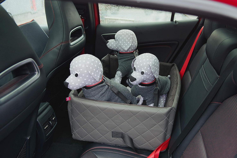L 67 x B 58 x H 26 cm Autositz R/ückbank//Vordersitz Luxus f/ür Hunde LUX XL Grau Amibelle komfortabler Hundesitz ohne Chemie