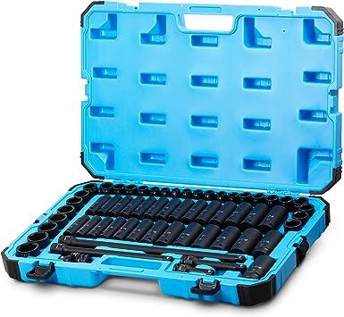 Capri Tools Juego de llaves de vaso de impacto con adaptadores y extensiones 48 piezas acero cromado molibdeno de alta calidad