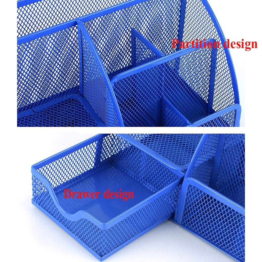 Colore : Verde Supporto per Penna Multifunzione Metal Mesh Desk Tidy Organizer LFY Desk Organizer Stationery 3 Scomparti