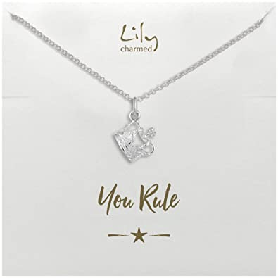 d8c77abe4 Lily Charmed Sterling Silver Crown Necklace with You Rule Message Card:  Amazon.co.uk: Jewellery