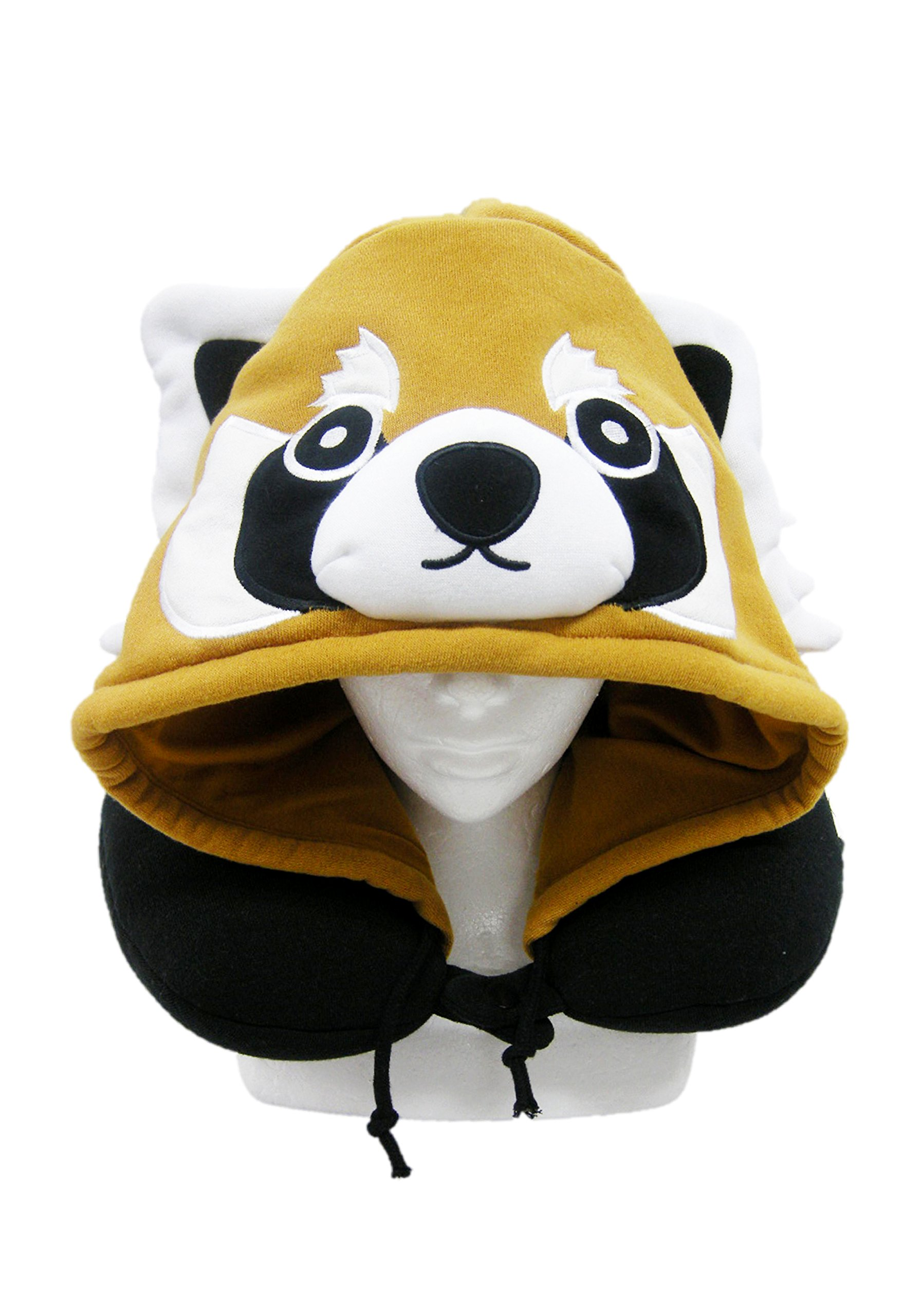 SAZAC Animal Neck Support Pillow - Soft, Cozy Travel Cushion with Adjustable Toggle - Attached Hood for Warmth and Privacy - Authentic Japanese Kawaii Design - Premium Quality (Red Panda)