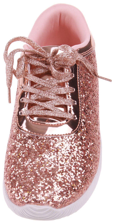 Enimay Women's Glitter Fashion Sneaker Classic Lace-up Mesh Running Shoe B07BG9RS4F 8 B(M) US|Rose Gold