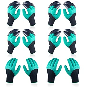 6 Pairs Garden Genie Gloves, Including 4 Pairs Double Claws, 2 Pairs Normal Gloves, Best Safe Gardening Tool, Ideal Gifts for Gardeners, Perfect for Digging Weeding Seeding poking Planting