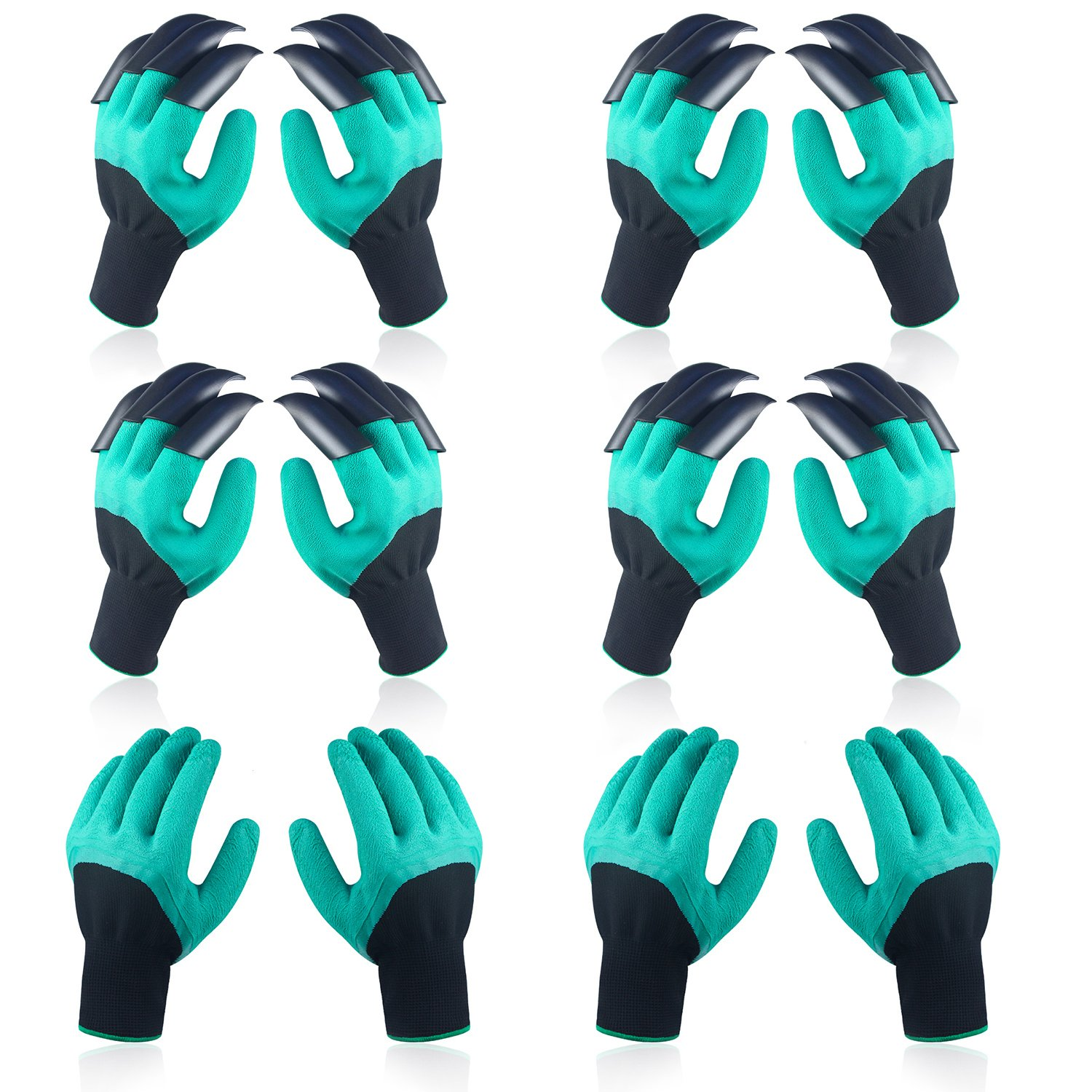 6 Pairs Garden Genie Gloves, Including 4 Pairs Garden Gloves with Claws, 2 Pairs Normal Gloves, Best Safe Gardening Tool, Ideal Gift for Gardeners, Perfect for Digging Weeding Seeding poking Planting