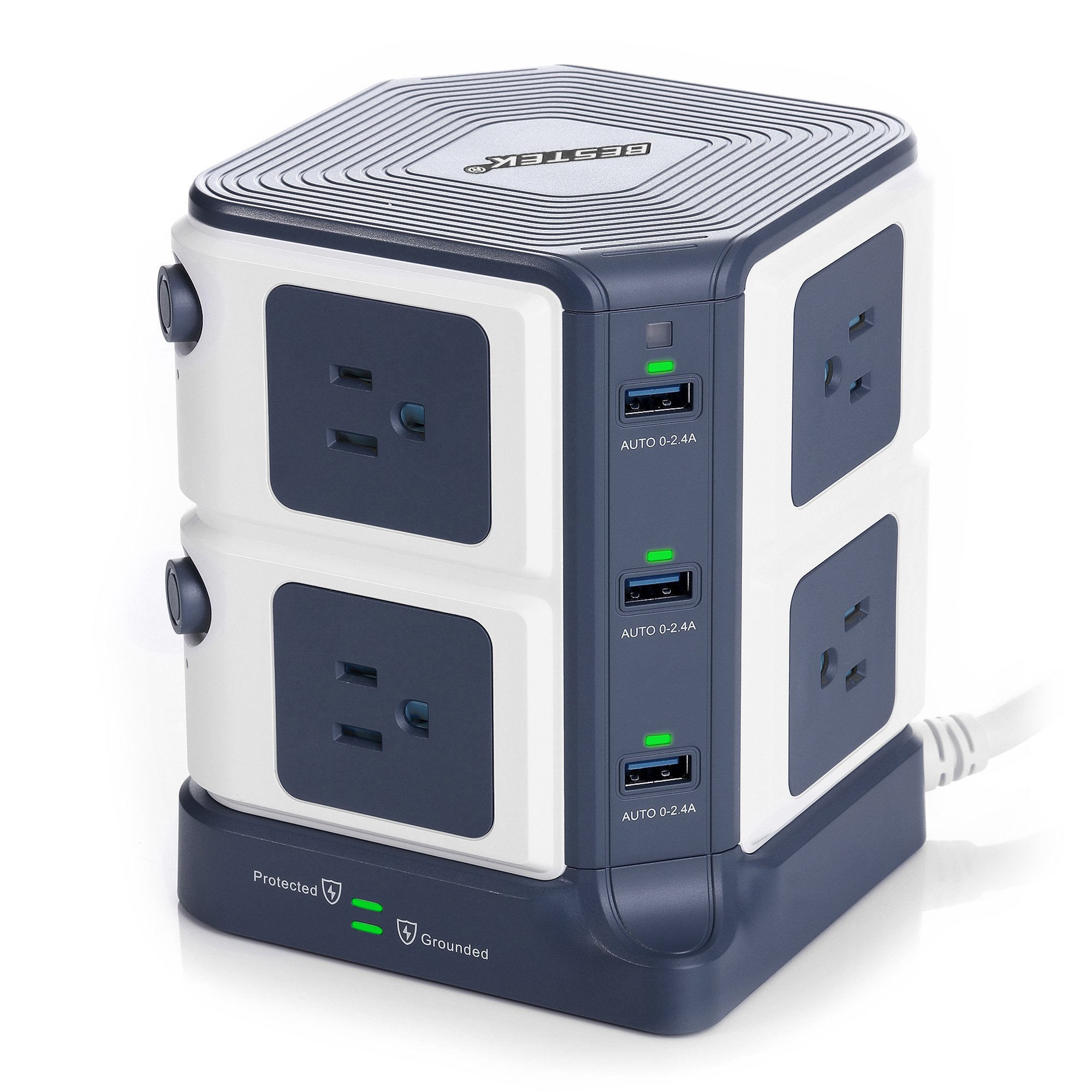 BESTEK Surge Protector 8-Outlet and 40W 6-Port Smart USB Power Strip with 1500 Joules Surge Protection,ETL Listed,Dorm Room Accessories