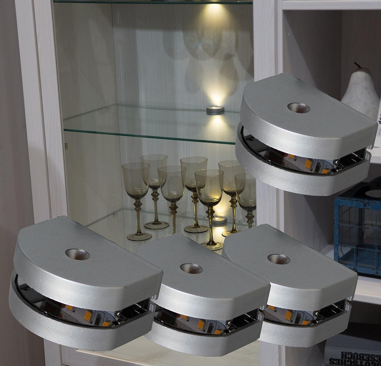 LED 3 Seiten Glaskantenbeleuchtung 4-er Set Clip   Mod.2295-4   Glasbodenbeleuchtung Vitrinenleuchte Schrankbeleuchtung warmweiß Komplettset