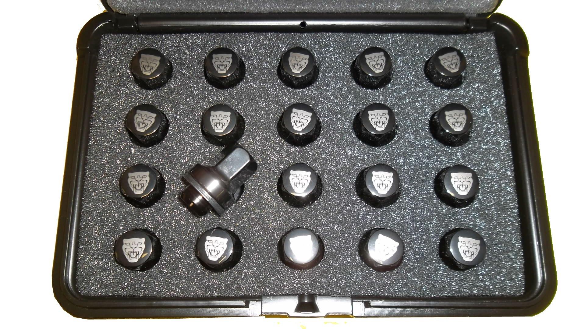 Jaguar OEM Accessory ''Growler'' Etched Black Lug Nut Set