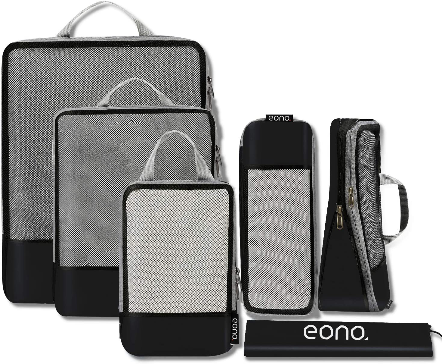 Eono by Amazon - Organizadores de Viaje de compresión expandibles, Impermeable Organizador para Maletas, Organizador de Equipaje, Cubos de Embalaje, Compression Packing Cubes, Negro, 6 Set