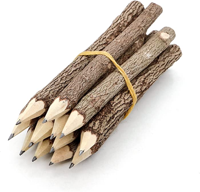 BSIRI Pencil Wood Favors of Graphite Wooden Tree Rustic Twig Pencils Unique Birch of 12 Camping Lumberjack Decorations Party Supplies Novelty Gifts as a Natural Pencil Gifts for Kids in Classroom