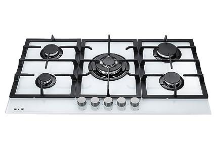 photos officielles 74ead 6f5aa Millar GH9051TW Plaque de cuisson en Verre trempé avec 5 brûleurs à gaz  Blanc 90 cm/Table de Cuisson