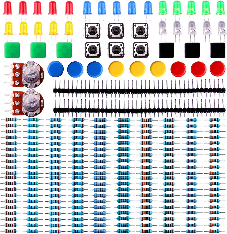 ELEGOO Kit de Componentes Electrónicos con Resistencias, Leds, Conmutadores, Potenciómetros, Hoja de Especificaciones Disponible, Compatible con Arduino IDE, UNO R3, Mega 2560, Raspberry Pi, Nano