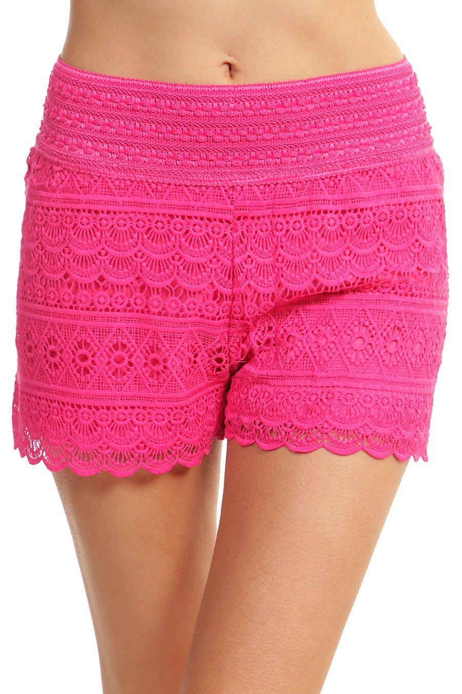 ToBeInStyle Women's Scalloped Lace Shorts - Fuchsia - Small