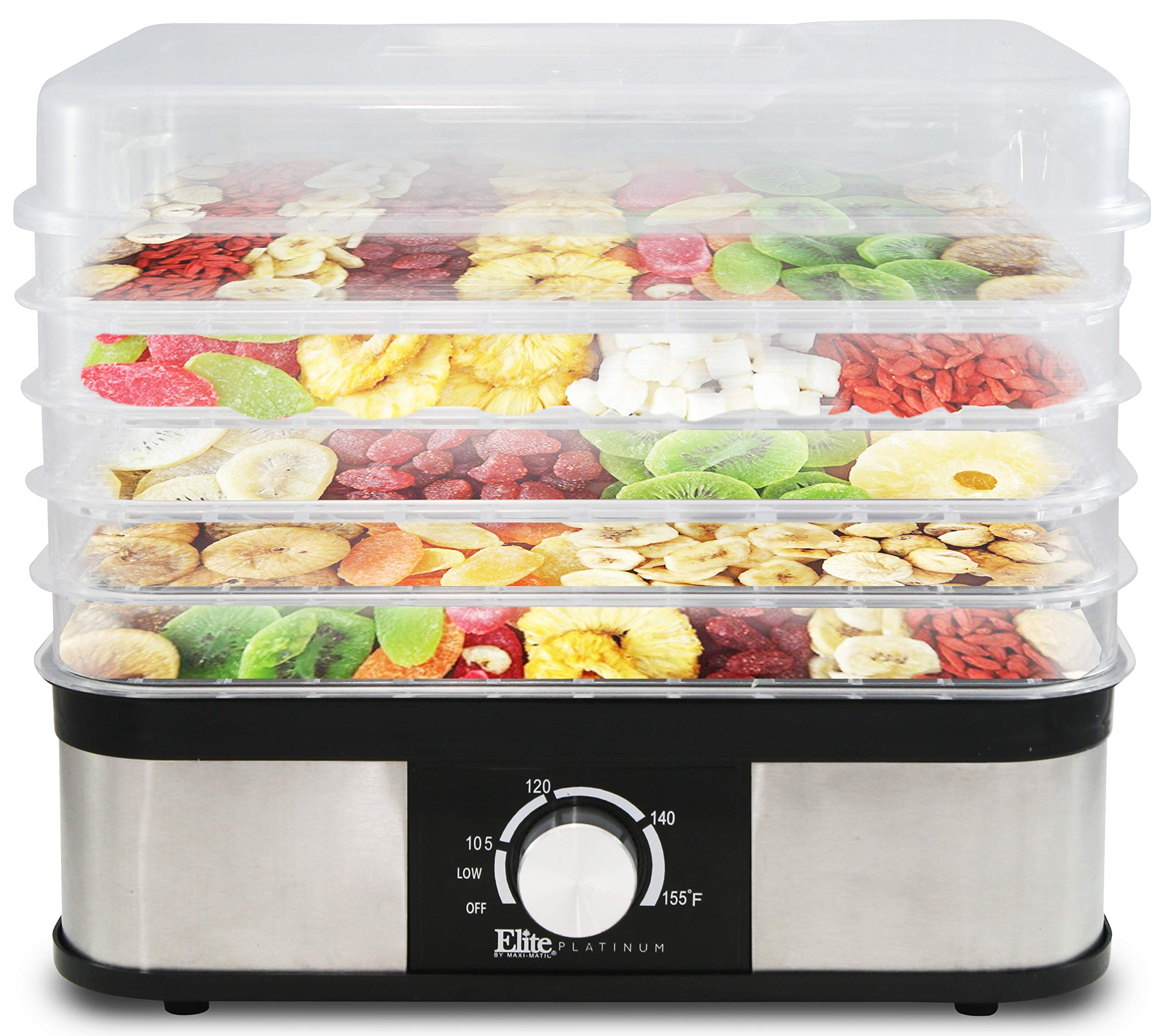 Elite Platinum EFD-1159 Multi-Tier Electric Snack Maker Food Dehydrator Food Preserver Machine by Maxi-Matic