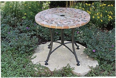 Ooutdör Intewers Mesa de jardín para Exteriores con Piedra Arenisca y Base de Metal, 24 Pulgadas, Color carbón: Amazon.es: Hogar