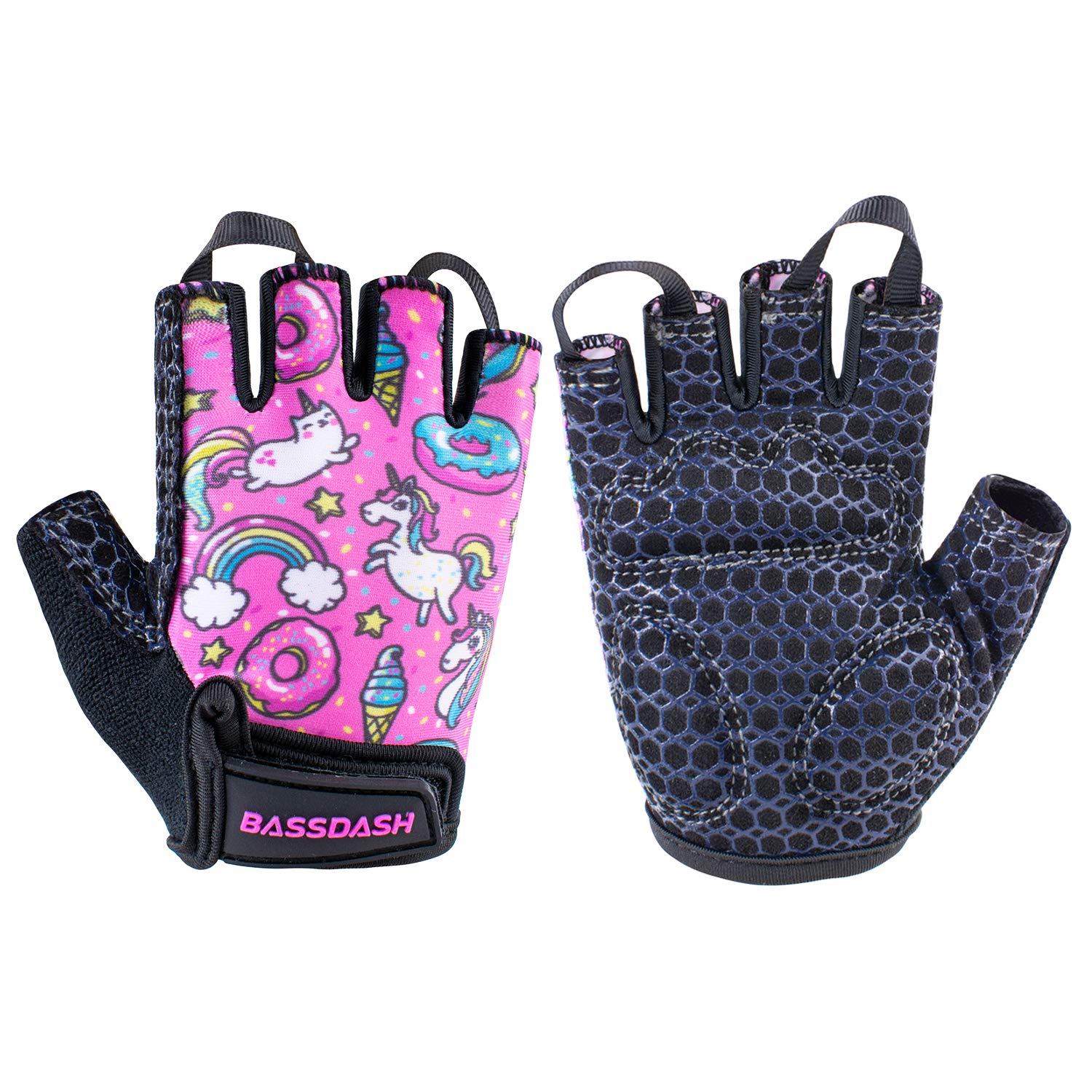Bassdash Kids Gloves with Padded Grippy Palm for Bicycles Fishing for 1-8 Years Old Boys Girls