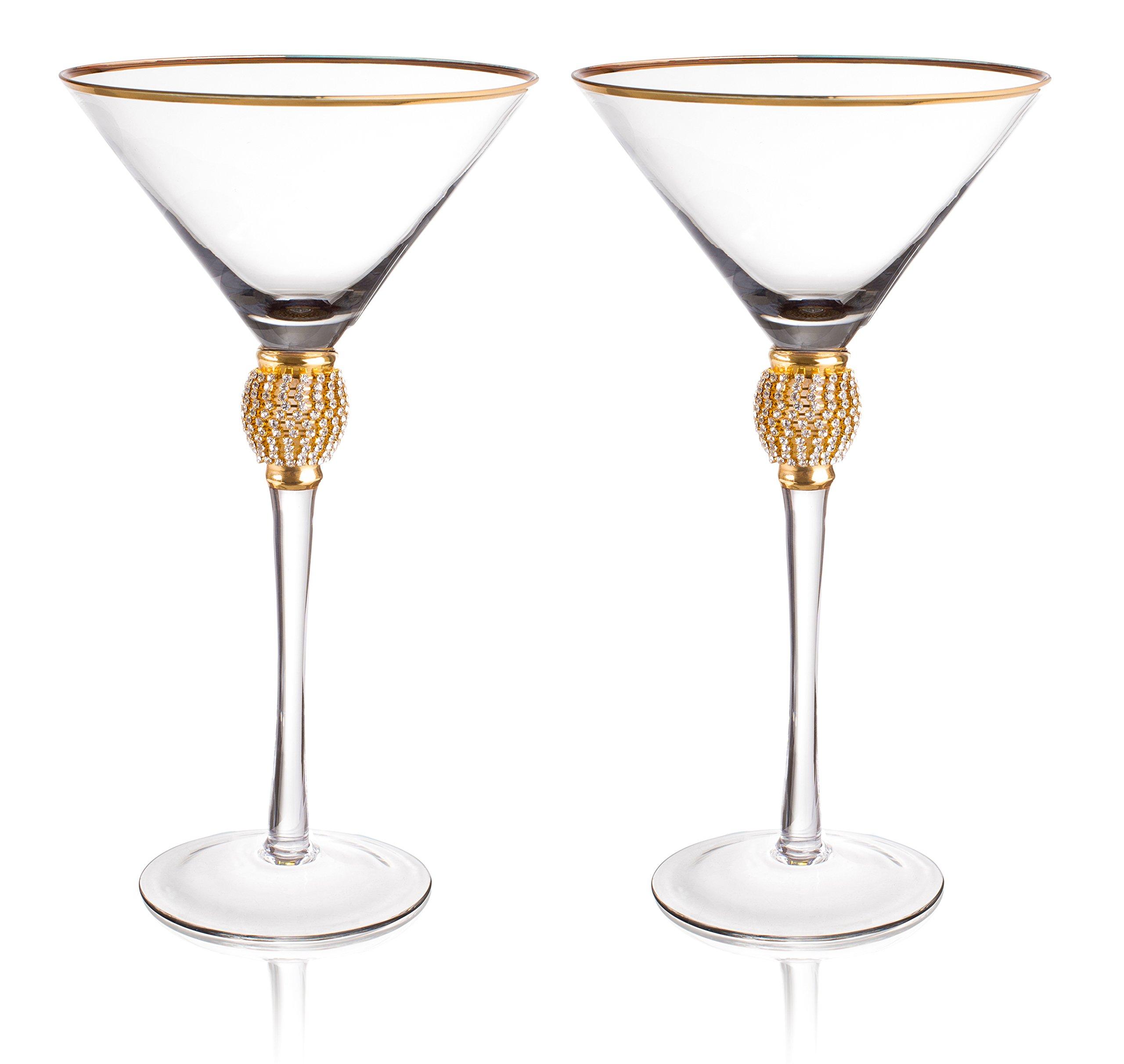 Trinkware Set of 2 Stemmed Martini Glasses - Rhinestone''DIAMOND'' Studded With Gold Rim - Long Stem, 12oz, 9-inches Tall – Elegant Glassware And Stemware