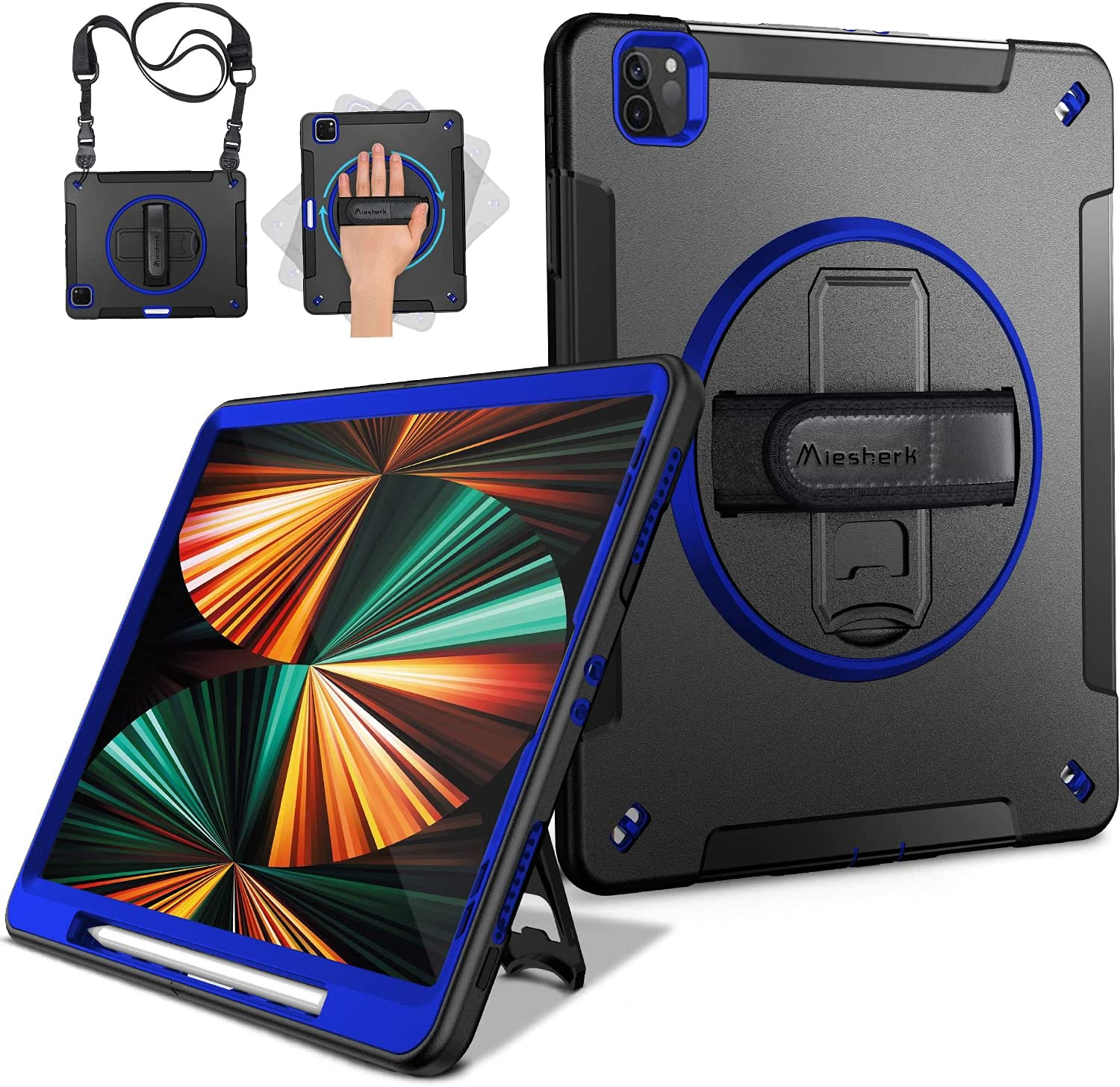 Miesherk iPad Pro 12.9 Case 2021/2020: Military Grade Heavy Duty Shockproof Cover for iPad Pro 12.9 Inch 5th/4th Generation- Pencil Holder - Rotating Stand - Hand/Shoulder Strap - Blue