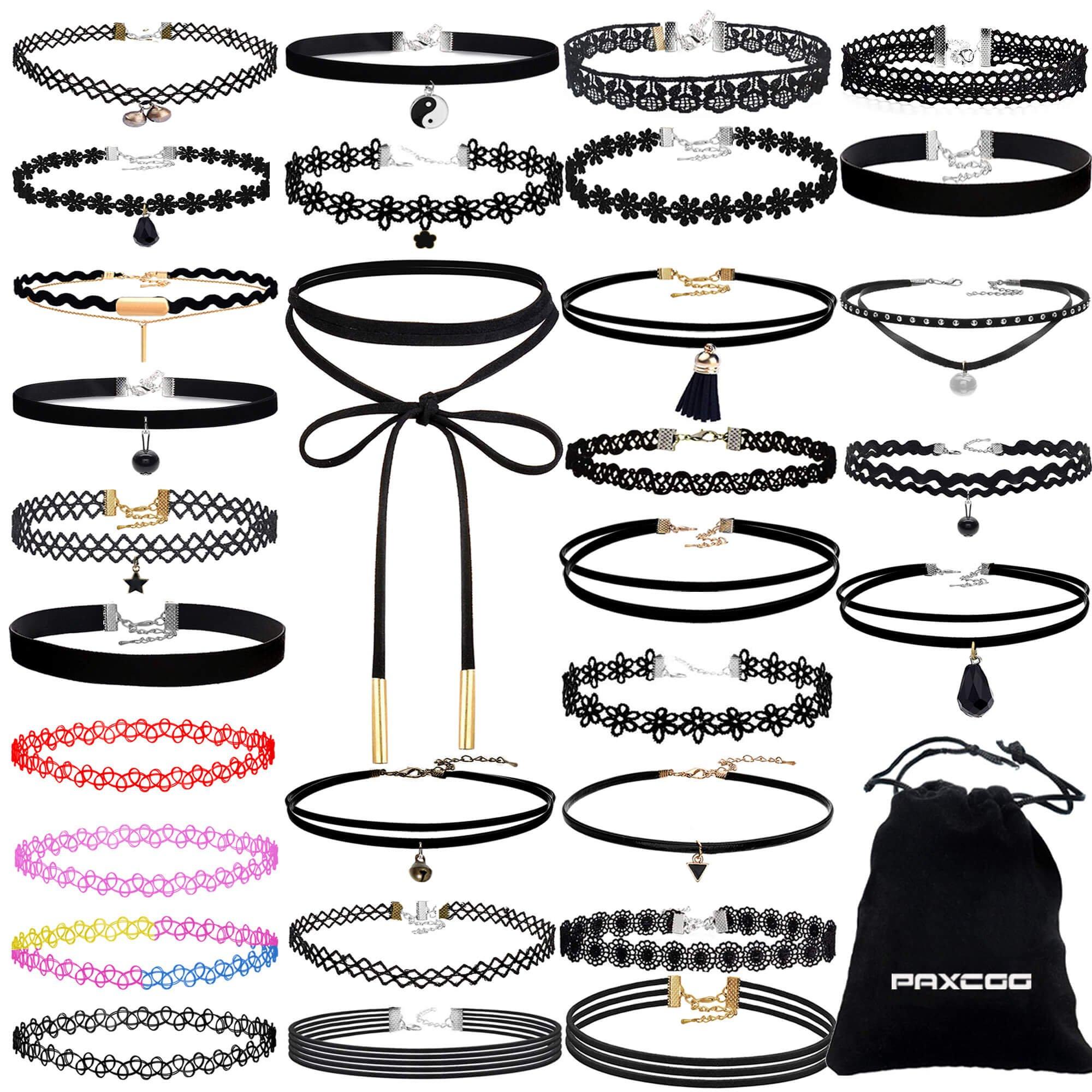 PAXCOO 36 PCS Choker Necklaces Set Including 30 Pcs Black Choker Necklaces and 6 Pcs Extender Chains for Women Girls