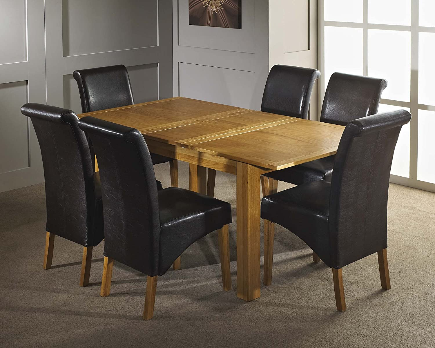 Windsor 140 180cm Extending Dining Table Set with 6 Faux