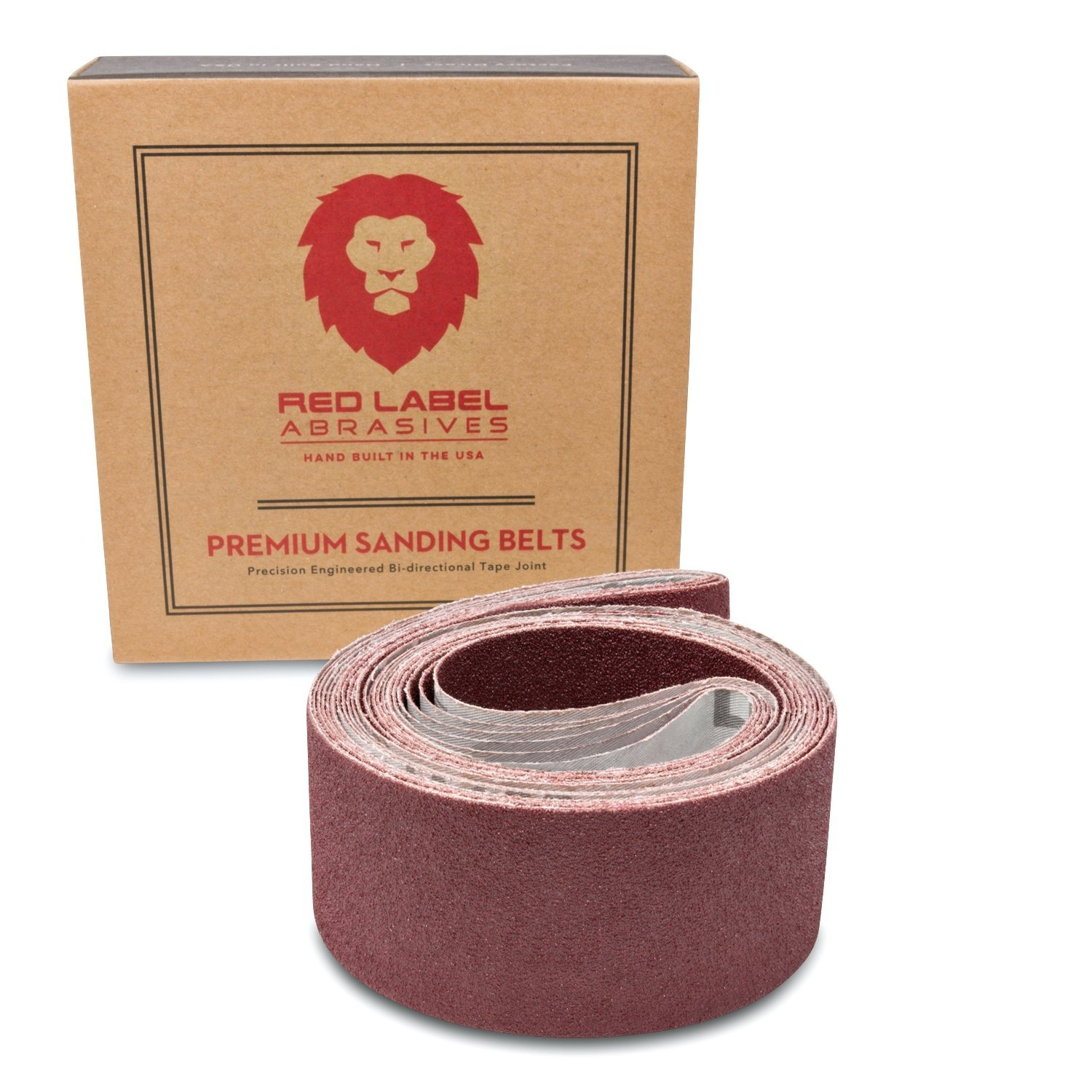 2 X 42 Inch 80 Grit Flexible Aluminum Oxide Multipurpose Sanding Belts 6 Pack