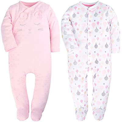 2 Packed Pink Footed Baby Girls Pajamas Fold-Over Hands Long Sleeve Romper for Baby Onesies