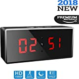 Wireless Spy Camera Clock, 1080p HD Wifi Hidden Security Camera Clock with Night Vision, Motion Detection, Live Remote Surveillance & Loop Recording. Digital Desk Clock Camera Perfect for Home & Nanny