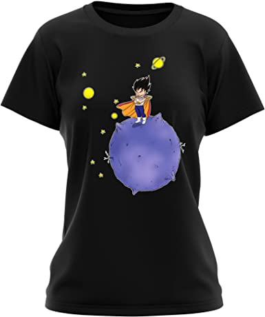 OKIWOKI Camiseta Mujer Negra Dragon Ball Z -DBZ humorística con Vegeta de la Planeta Vegeta (Parodia de Dragon Ball Z -DBZ) (Ref:660): Amazon.es: Ropa y accesorios