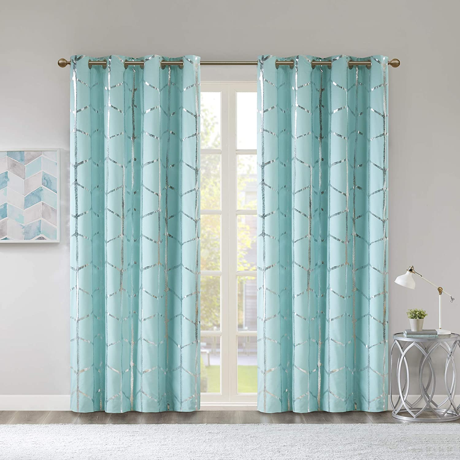 Intelligent Design Raina Total Blackout Metallic Print Grommet Top Window Curtains Panel Thermal Insulated Light Blocking Drape for Bedroom Living Room and Dorm, 50x63, Aqua/Silver