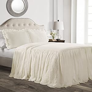 Lush Décor Ruffle Skirt Bedspread Ivory Shabby Chic Farmhouse Style Lightweight 3 Piece Set, Queen,