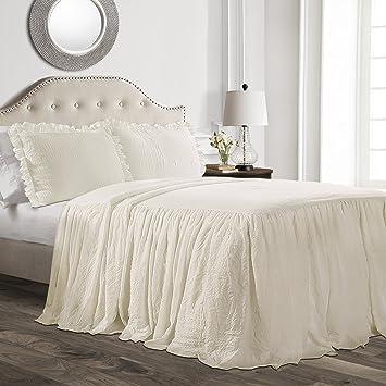 Lush Décor Ruffle Skirt Bedspread Ivory Shabby Chic Farmhouse Style Lightweight 3 Piece Set, Full, by Lush Decor