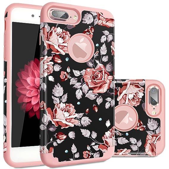 best service 2e551 c38e1 iPhone 7 Plus Case Flower,iPhone 8 Plus Case,Fingic Floral Series Slim Case  for Girls Women Hard PC Soft Rubber Anti-Scratch Shock Proof Protective ...