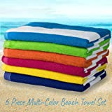 "Large Beach Pool Towel Striped Cotton Blend, Cabana Stripe Variety 6 Pack, 30"" x 60"""
