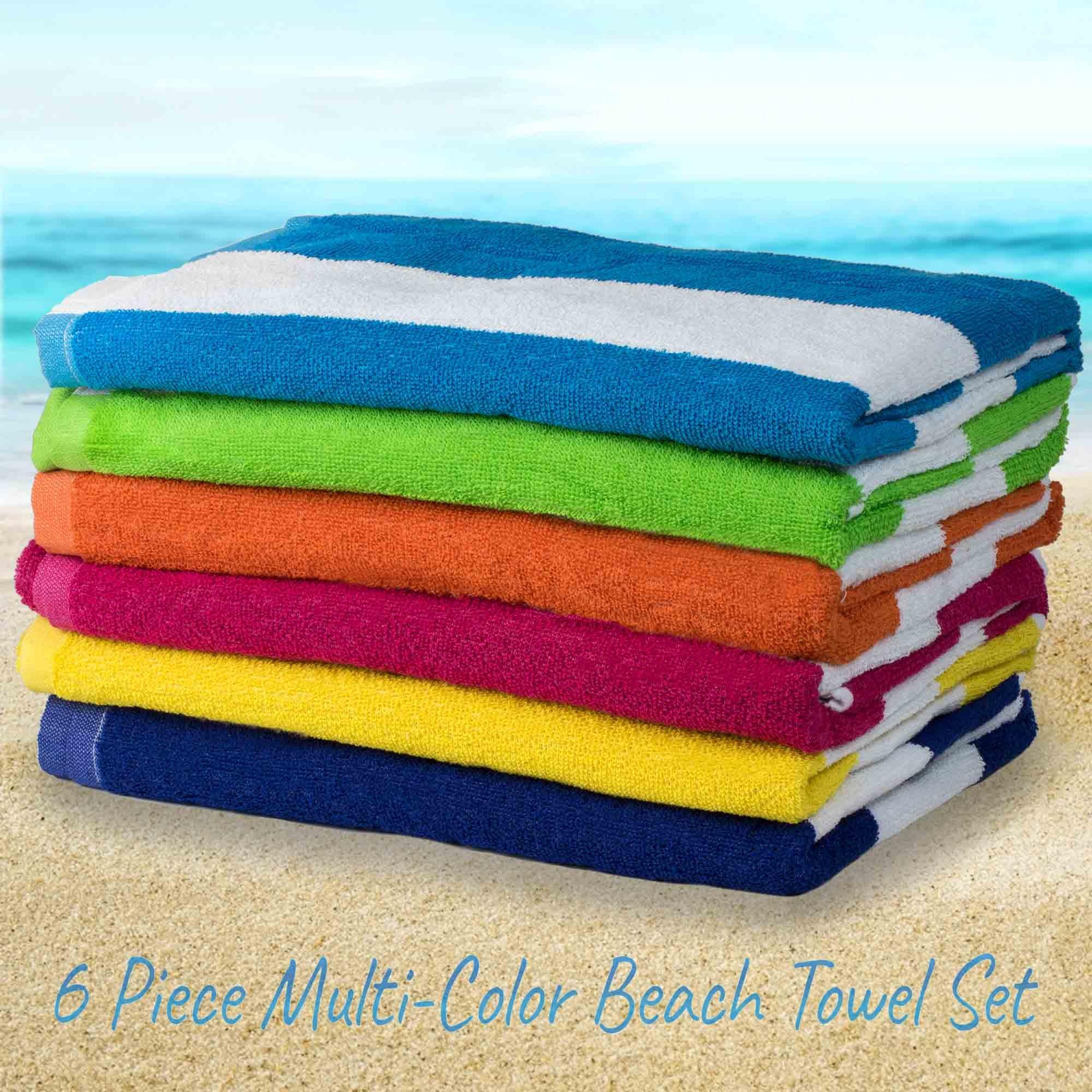 HowPlumb Large Beach Pool Towel Striped Cotton Blend, Cabana Stripe Variety 6 Pack, 30'' x 60''
