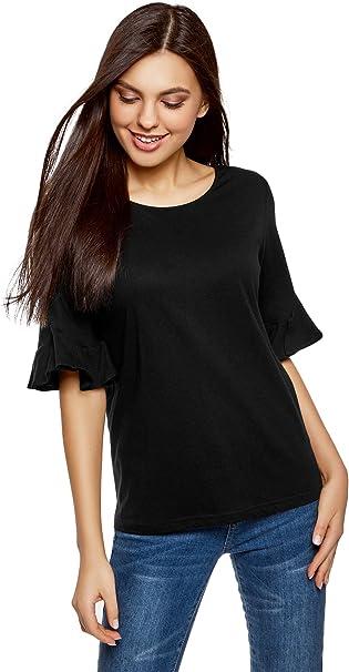 oodji Ultra Donna T-Shirt Comoda con Volant sulle Maniche