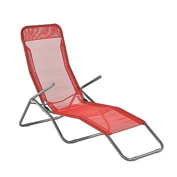 [casa.pro] Tumbona Plegable - Silla para Playa - 190 x 60 x 98 cm - Respaldo Ajustable - Rojo